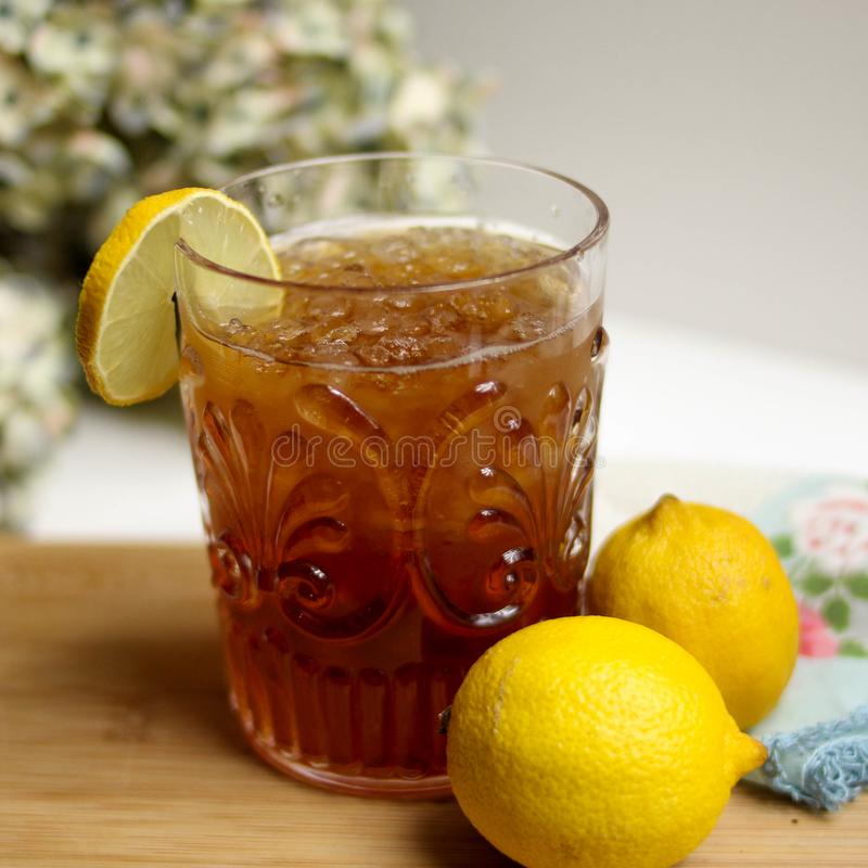 Lemon Iced Tea With Lemon Fruits royalty free stock photo