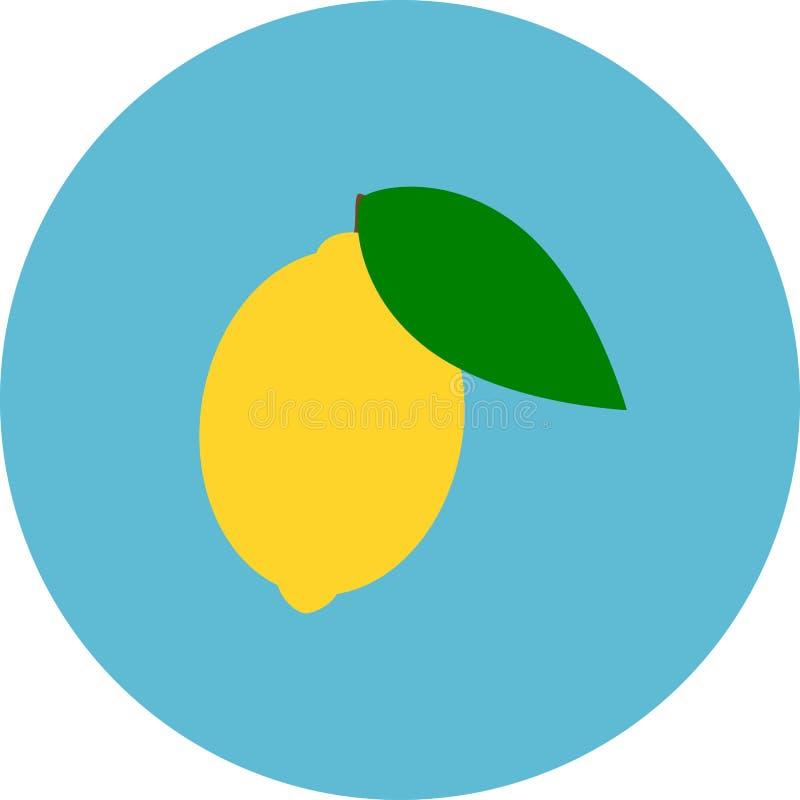 Lemon icon. Blue background. Citron clipart. Lemon with leaf icon. Blue background. Vector illustration. Citron clipart stock illustration