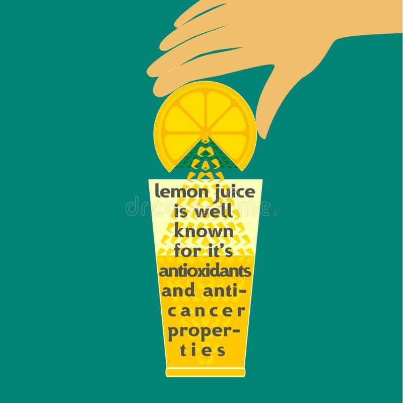Lemon juice concept. Citrus Fruit. Sliced lemon. Juice with splashe and drop. Fresh lemon Concept. Squeeze juice from lemon. Antioxidant, anticancer natural royalty free illustration