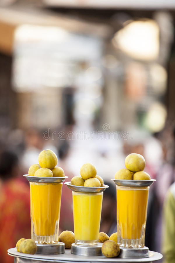 Lemon Juice from Jamnagar, India. Front View of lemon Juice which is sold in Jamnagar roadside in summer royalty free stock images