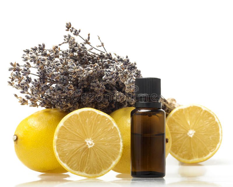 Lemon and lavender essential oil royalty free stock photo