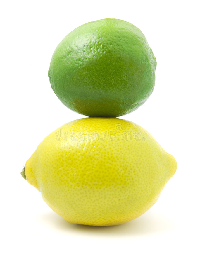 Lemon and Lime. Isolated on white stock photo