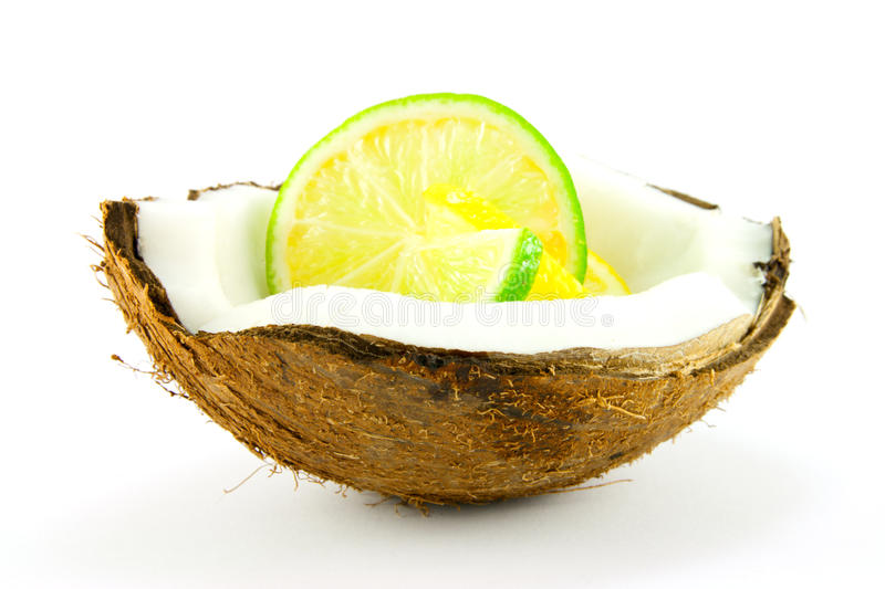 Download Lemon And Lime Slice In A Coconut Stock Image - Image of opened, agriculture: 10250671