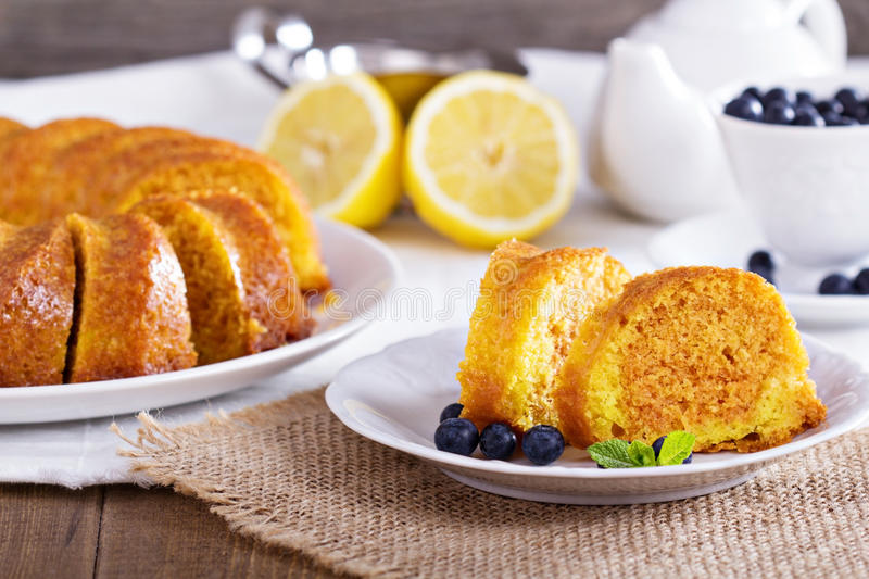 Lemon marble bundt cake royalty free stock image