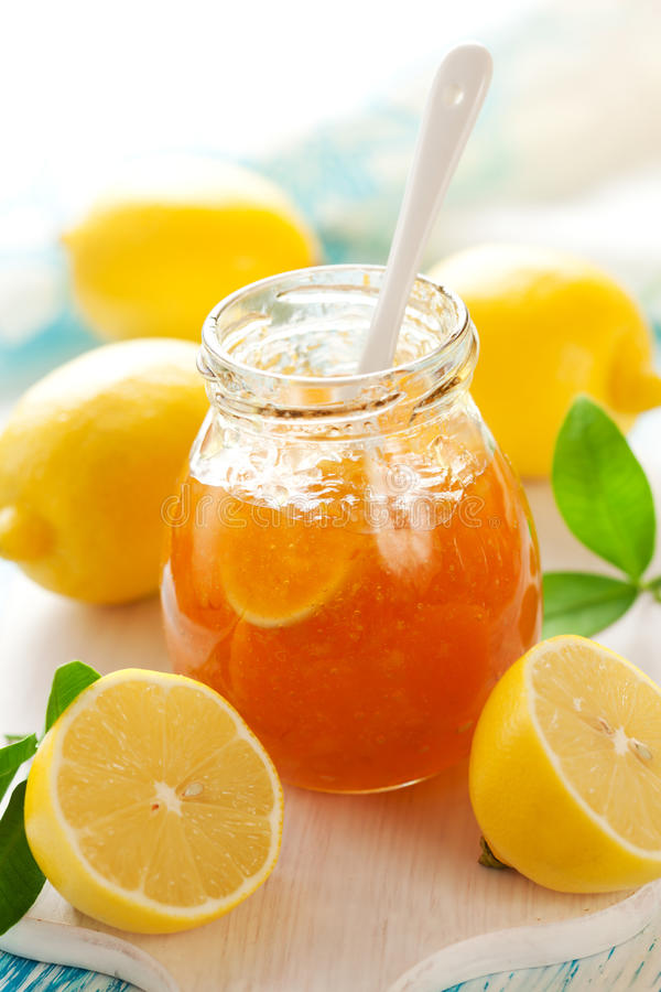 Lemon Marmalade. Jar of Lemon Marmalade with Fresh Lemons stock photography