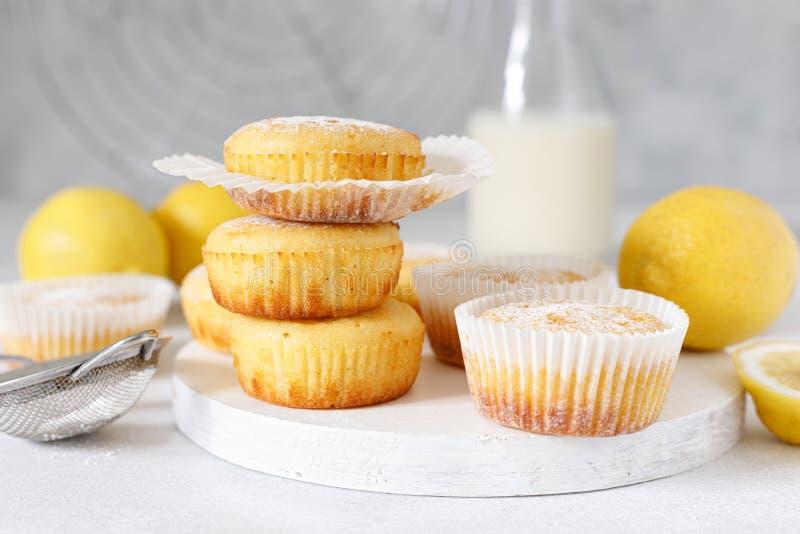 Lemon muffins with sugar powder royalty free stock photo