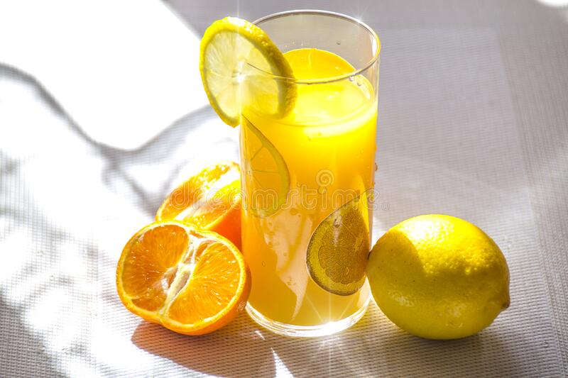 Lemon and orange drink royalty free stock images
