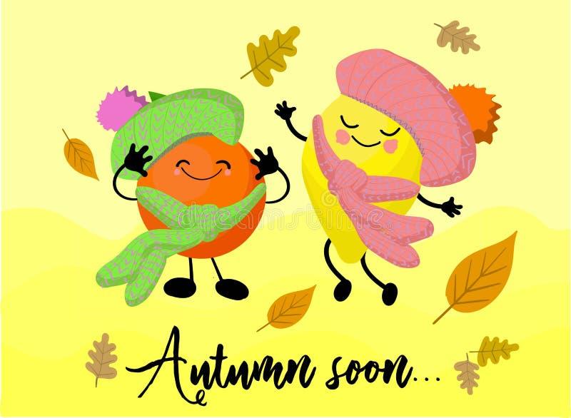 Lemon and orange. Vitamins in the fall. Citrus fruit. Cute kawaii characters. Autumn beriberi stock illustration