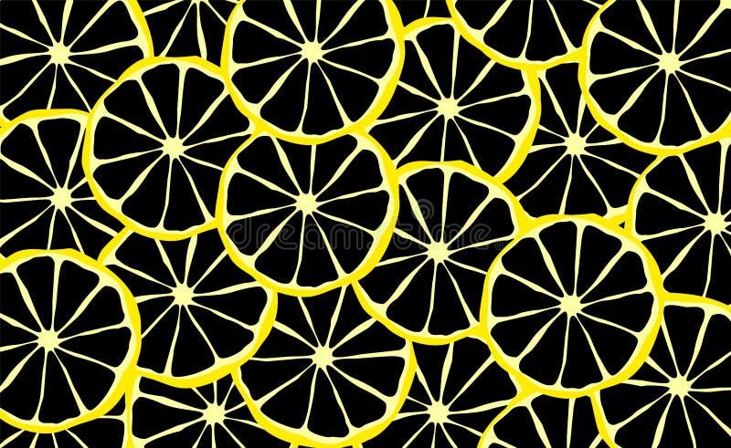 Lemon pattern background, vector illustration. Juicy bright sliced lemons design template. Fruit background. Vector stock illustration