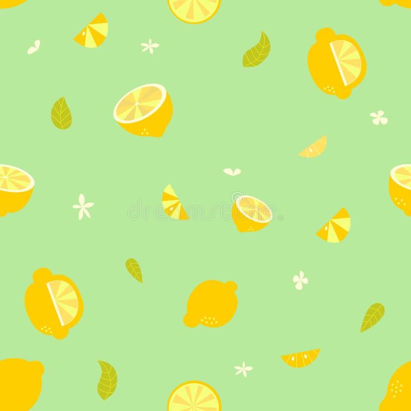 Lemon pattern. Cute seamless lemon pattern illustration with flowers and leaves stock illustration