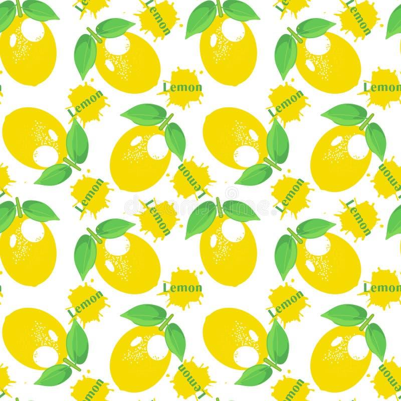 Lemon pattern. decorative background with colorful summer yellow lemons vector illustration