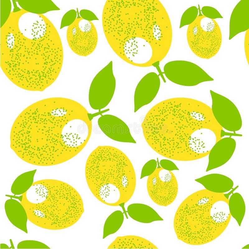 Lemon pattern. decorative background with colorful summer yellow lemons stock illustration