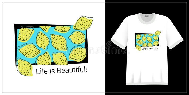 Lemon pattern. T-shirt print. Life is beautiful. Exotic summer design. Vector sketch. Hand drawn fresh fruit. Doodle illustration vector illustration