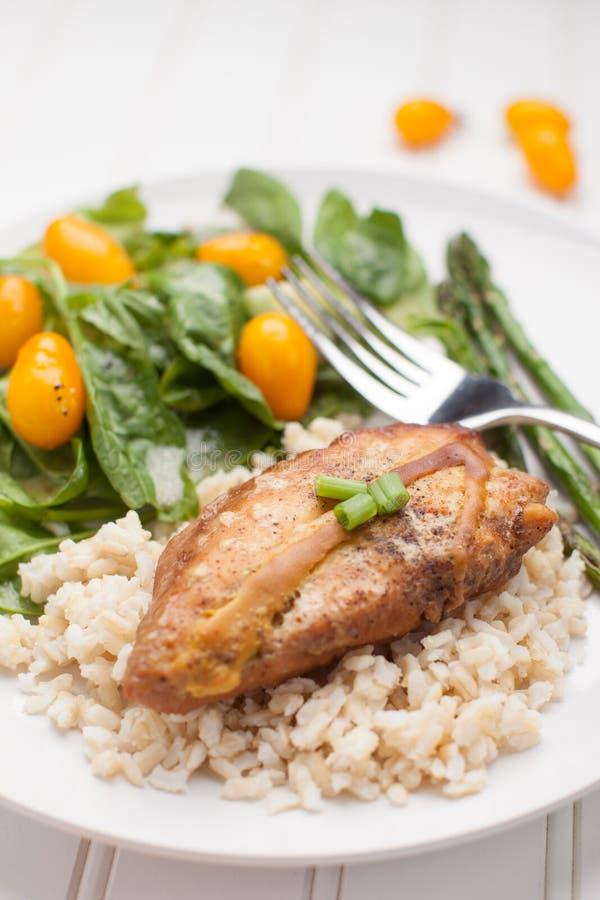 Lemon Pepper Chicken with Rice macro shot stock image