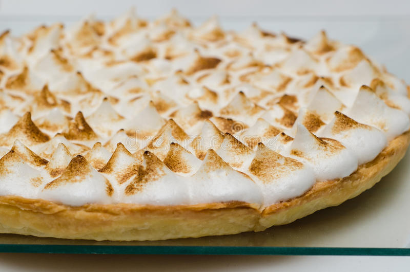 Lemon pie. With burned meringue stock images