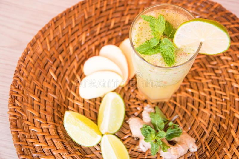 Lemon refresh juice stock photos