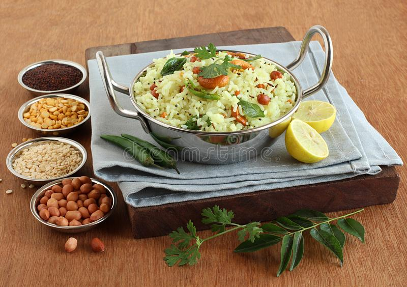 Lemon Rice Indian Vegetarian Homemade Breakfast stock photography