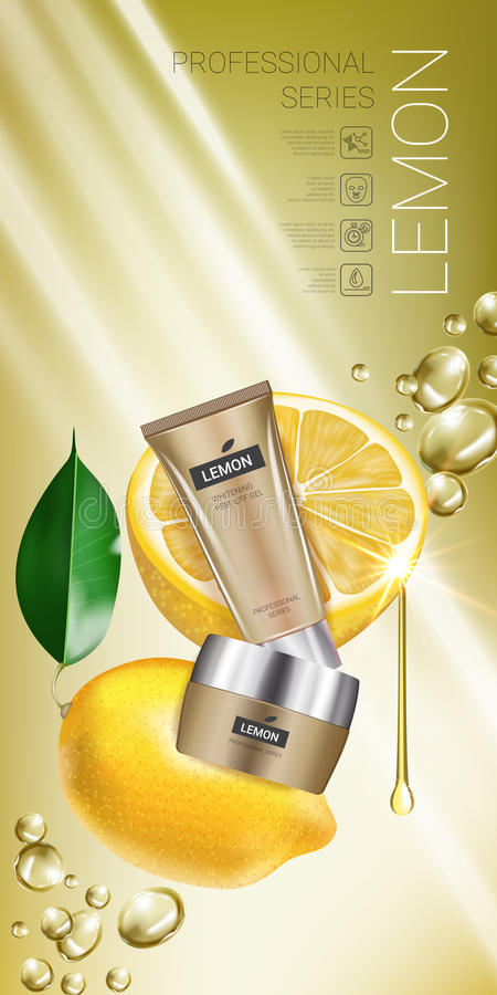 Lemon skin care series ads. Vector Illustration with lemon cream tube and container. vector illustration