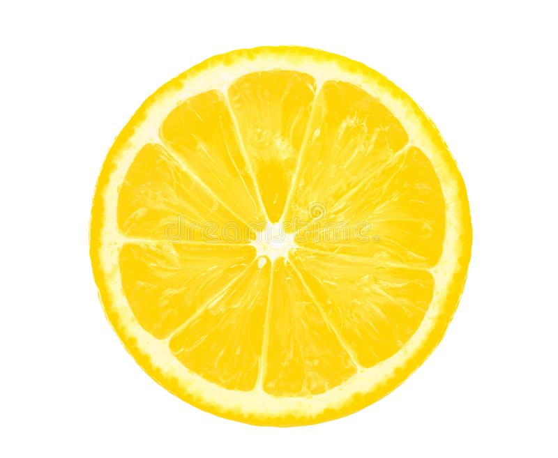 Lemon slice half cut isolated on white stock images