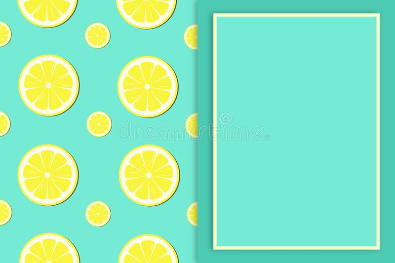 Lemon slice pattern background - illustration vector illustration