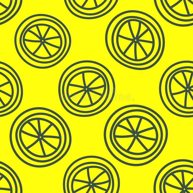Lemon slice seamless pattern. Hand drawn fresh fruit. Vector sketch background. Color doodle wallpaper. Exotic tropical yellow stock illustration