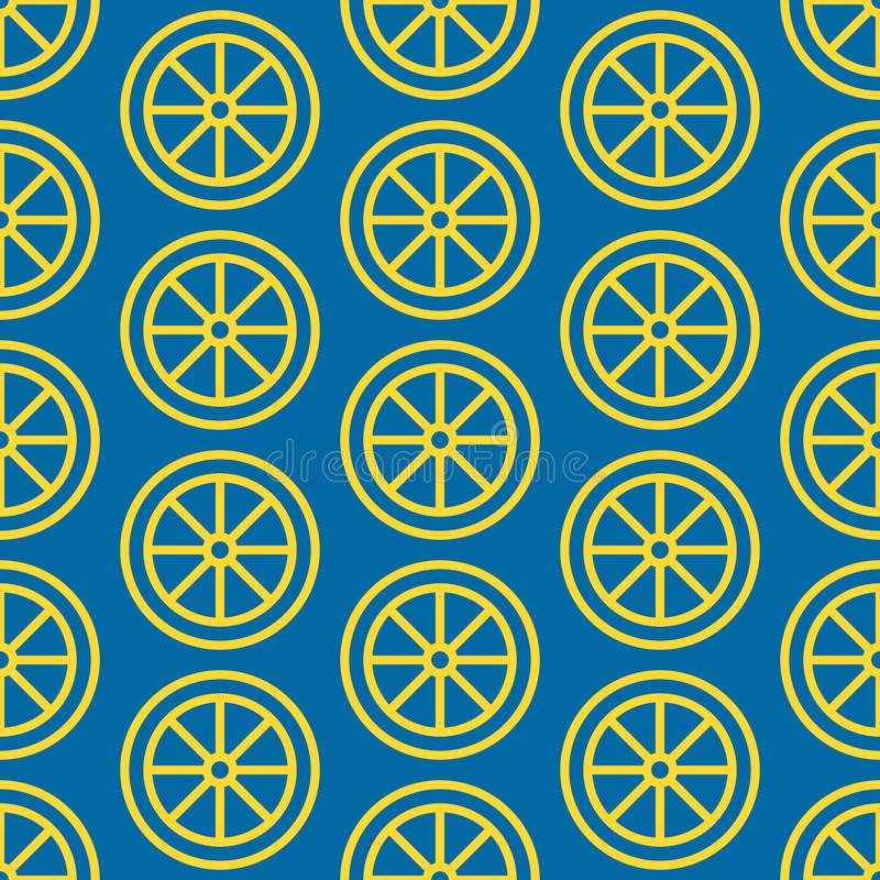 Lemon slice seamless pattern, vector background. Repeated bright texture for juice menu, fruit shop healthy food royalty free illustration