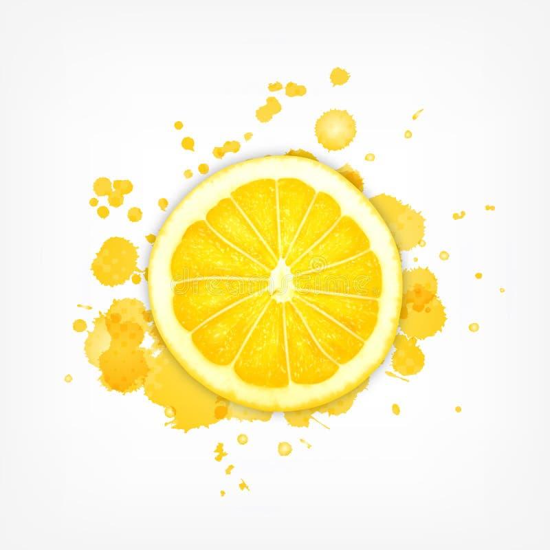Lemon slice with splash royalty free illustration