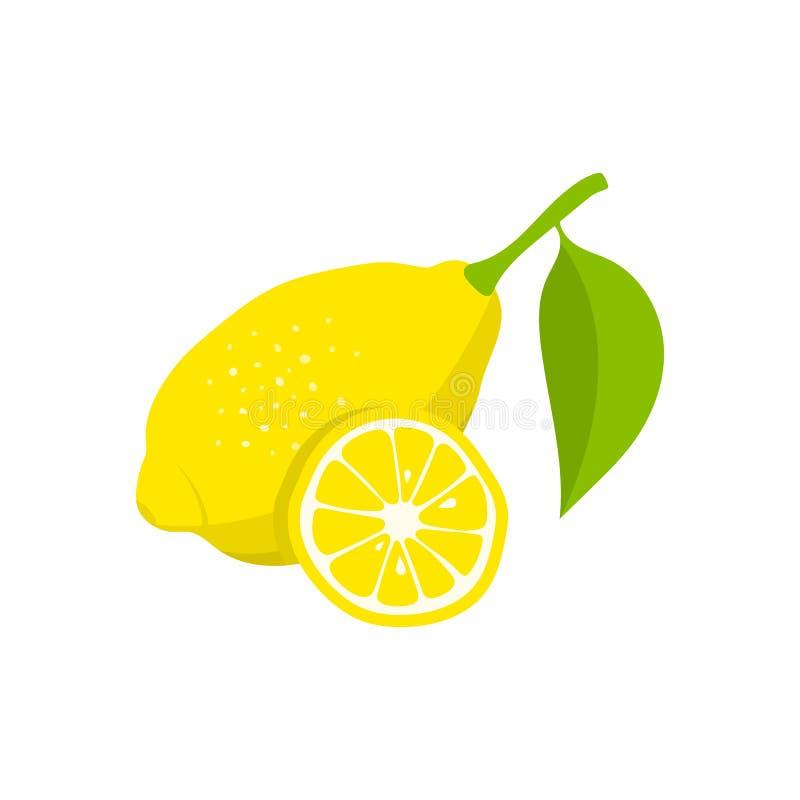 Lemon and slice of lemon on white background. Lemon icon. Vector illustration.  stock illustration