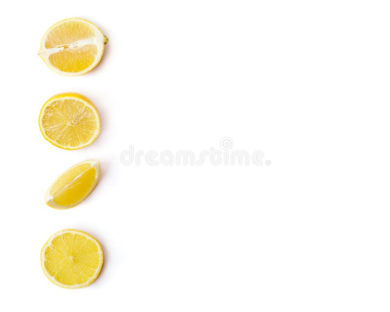 Lemon slices isolated on white, with copy space stock images