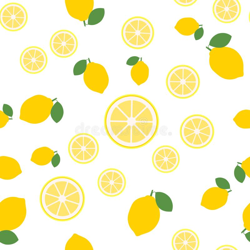 Lemon slices seamless pattern on white background. Fruit citrus. Elements for menu. Vector illustration. - Vector royalty free illustration