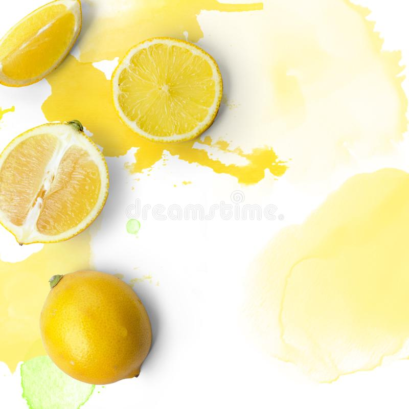Lemon slices on white background with watercolor splashes; Copy royalty free stock image