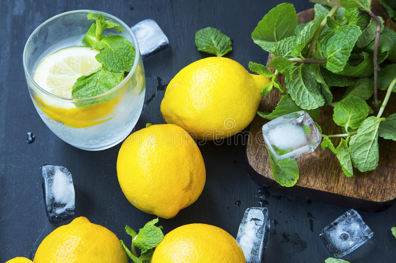 Lemon soda with mint leaves and ice cubes, fresh citrus infused stock image