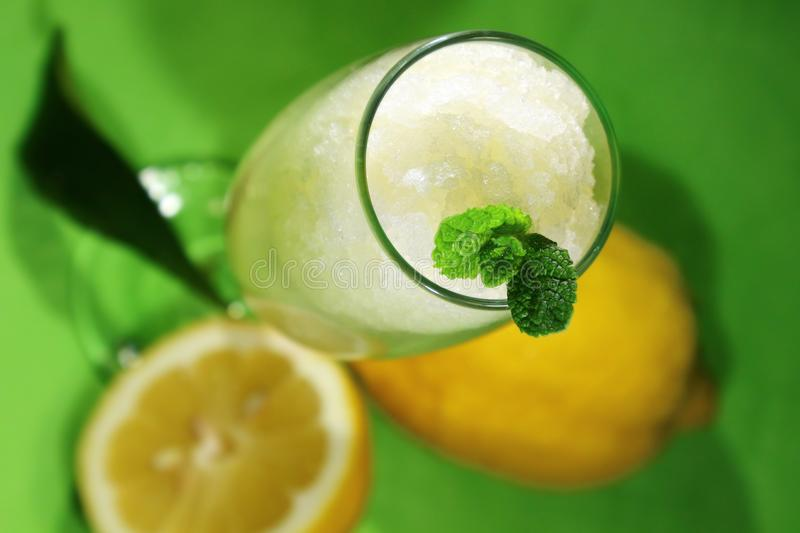 Lemon sorbet with fruit in the glass stock photo