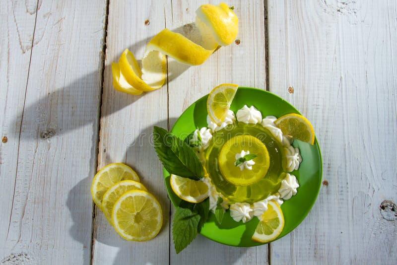 Lemon sour dessert made of jelly stock photography