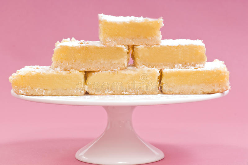 Lemon Squares On A White Cake Stand Royalty Free Stock Image