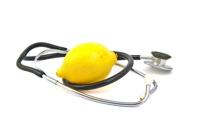 Lemon and stethoscope stock photo