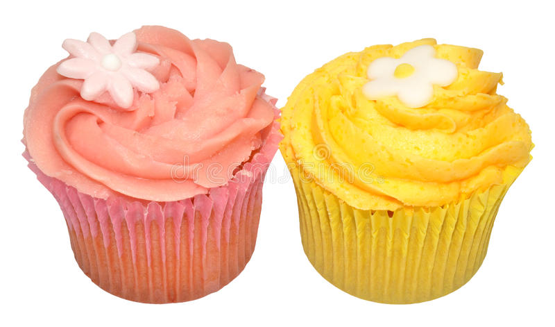 Lemon And Strawberry Flavour Cupcakes royalty free stock photography