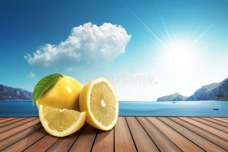 Lemon in the sun royalty free stock photography