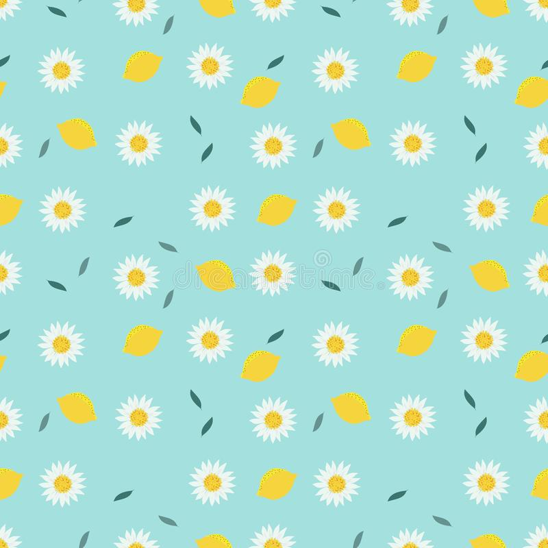 Lemon and sweet white flower seamless pattern vector illustration