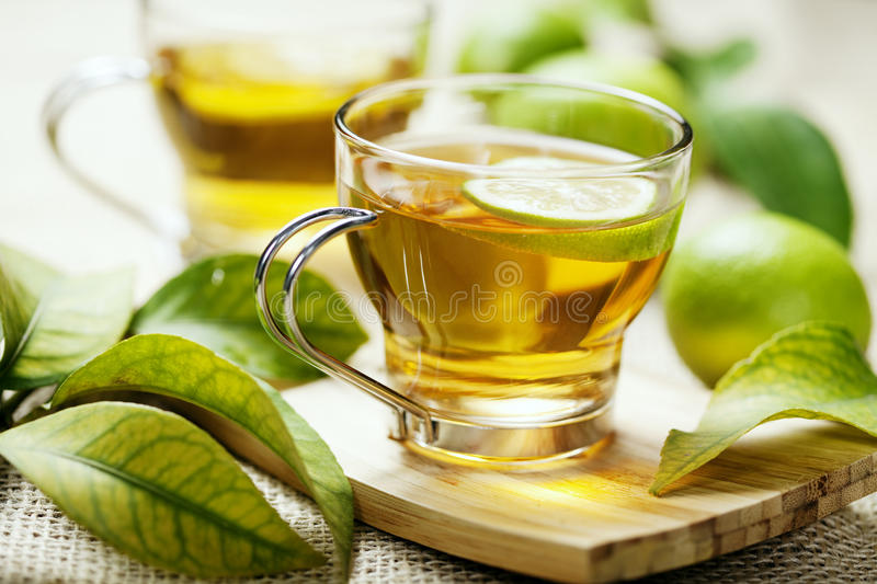 Lemon tea. Cup of freshly brewed lemon tea royalty free stock image