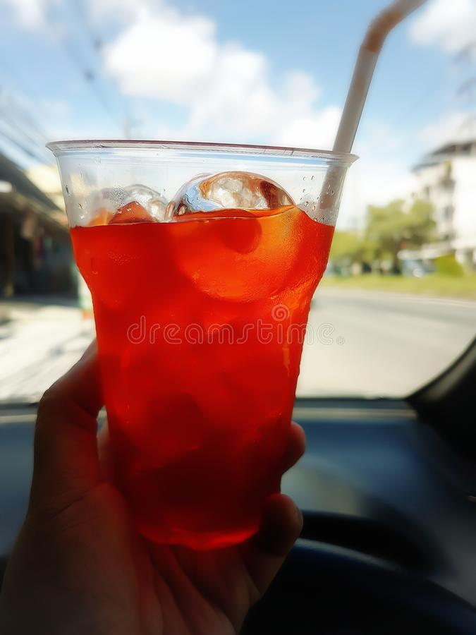 Lemon tea put ice in a clear plastic glass royalty free stock image