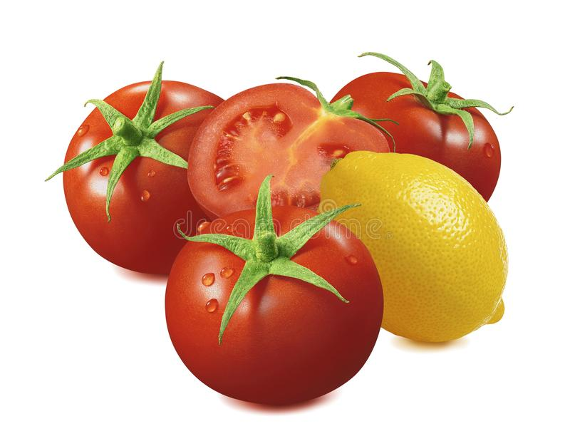 Lemon and tomato with water drops isolated on white background stock image