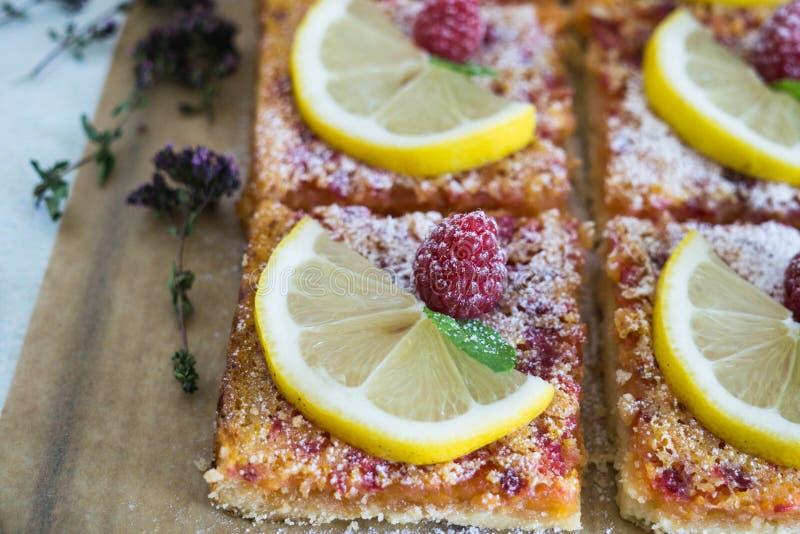 Lemon, vanilla and raspberry bars royalty free stock images