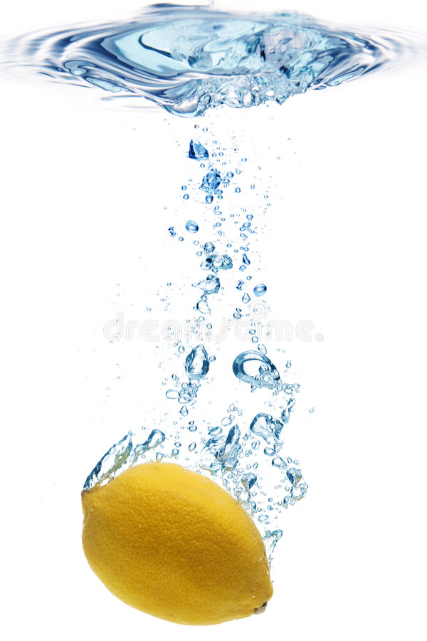 Lemon in water royalty free stock photo