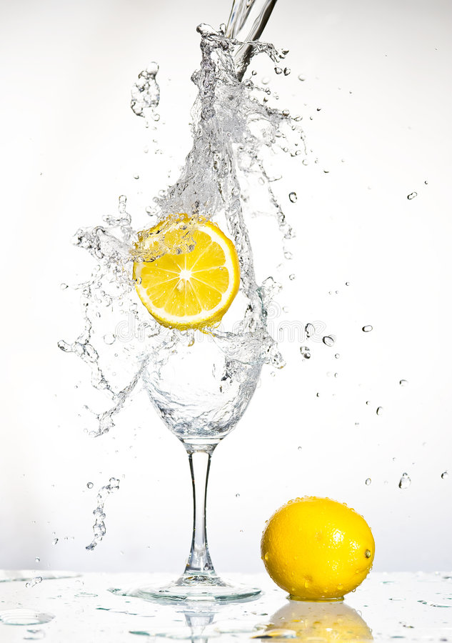 Lemon with water royalty free stock photo