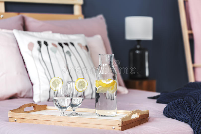Lemon water on tray royalty free stock photography