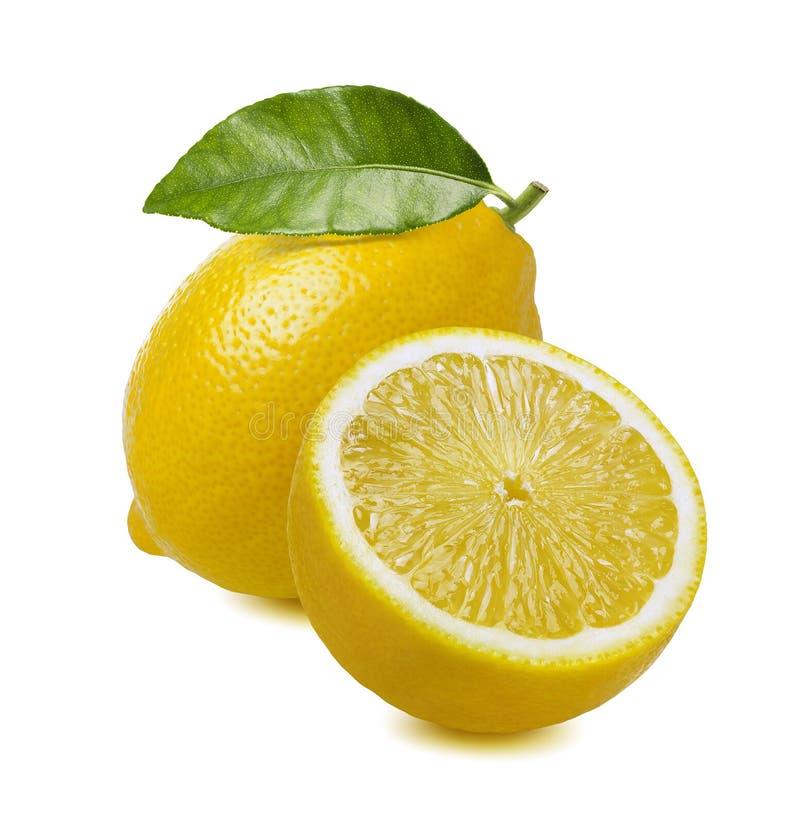 Free Lemon Whole And Half Isolated On White Stock Photography - 102144052