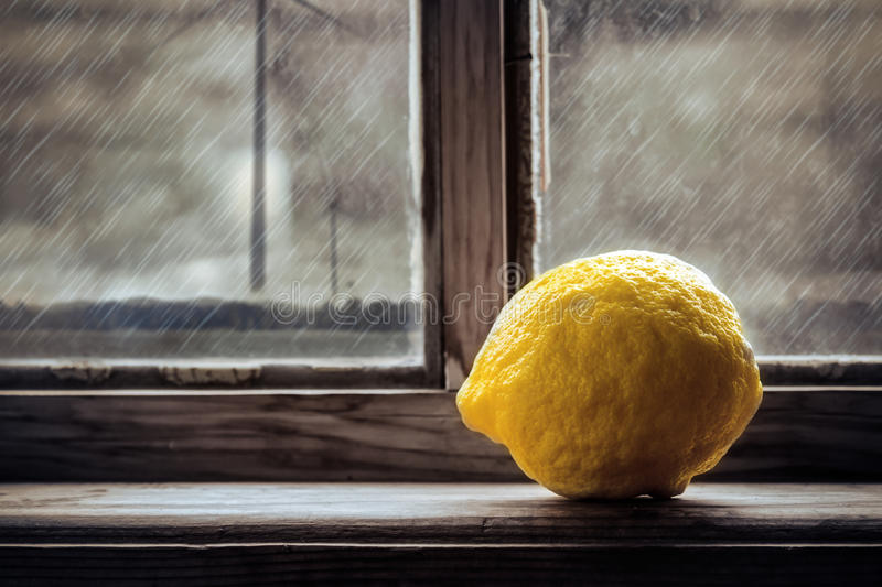 Lemon On The Window Royalty Free Stock Images