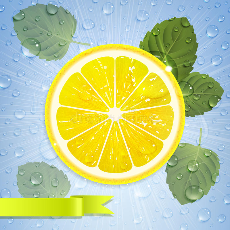 Free Lemon With Mint Leaves And Water Drops Stock Images - 89399454