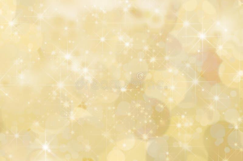 Lemon Yellow Abstract Star Background. A lemon yellow abstract star background with misty clouds and bokeh stock illustration